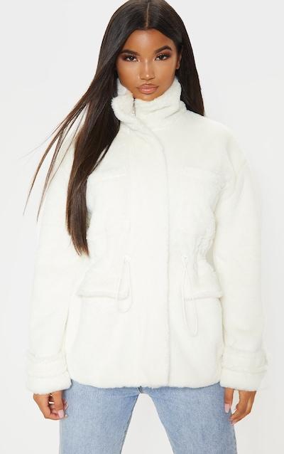 Cream Faux Fur Gathered Waist Jacket