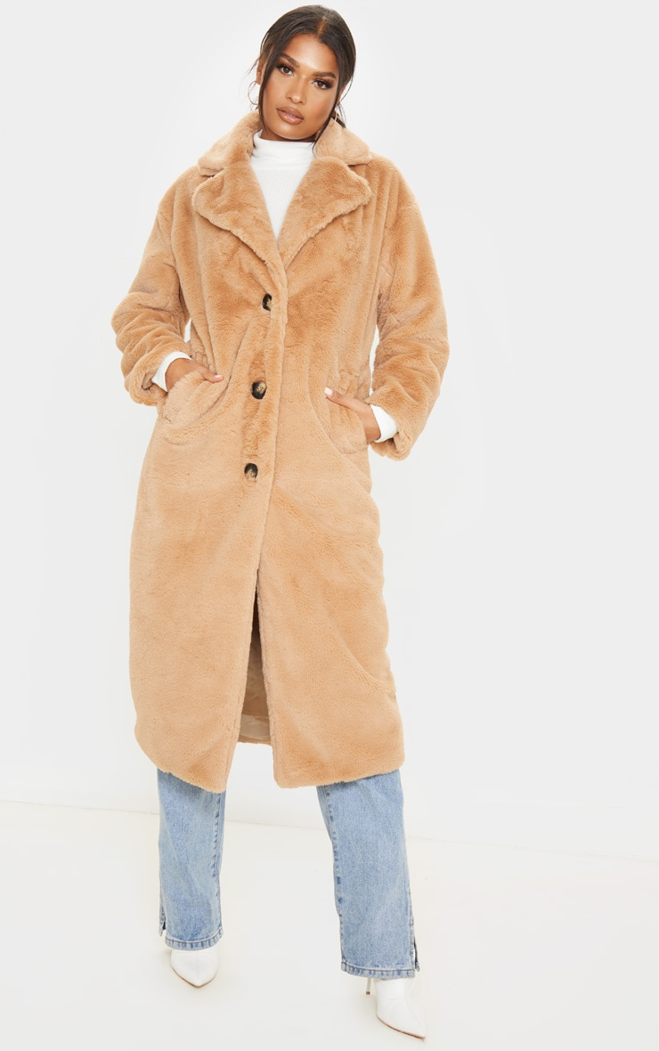 Taupe Maxi Faux Fur Button Front Coat image 1
