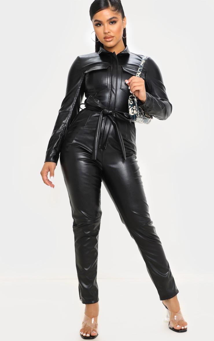 Petite Black PU Boiler Suit 1