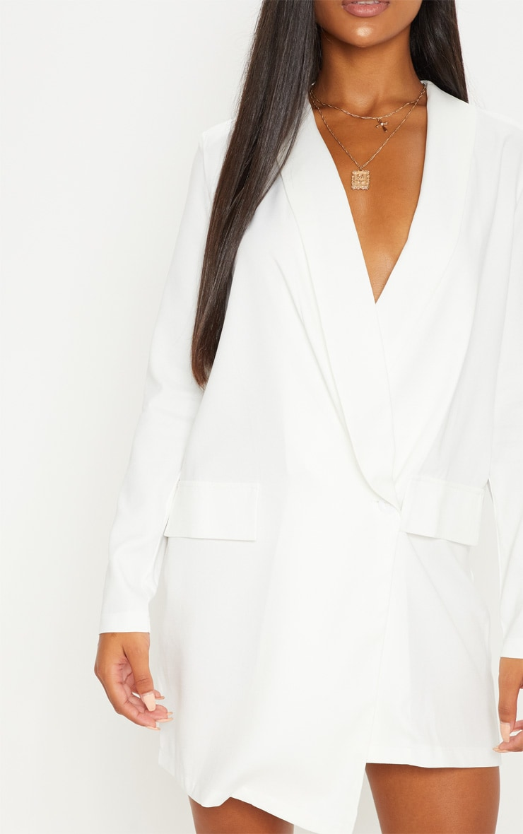 White Asymmetric Hem Oversized Blazer Dress 5