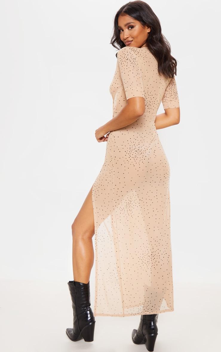 Beige Polka Dot Sheer Mesh Wrap Maxi Dress Prettylittlething