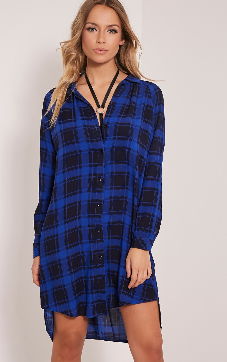 Ronah Cobalt Checked Shirt Dress 5