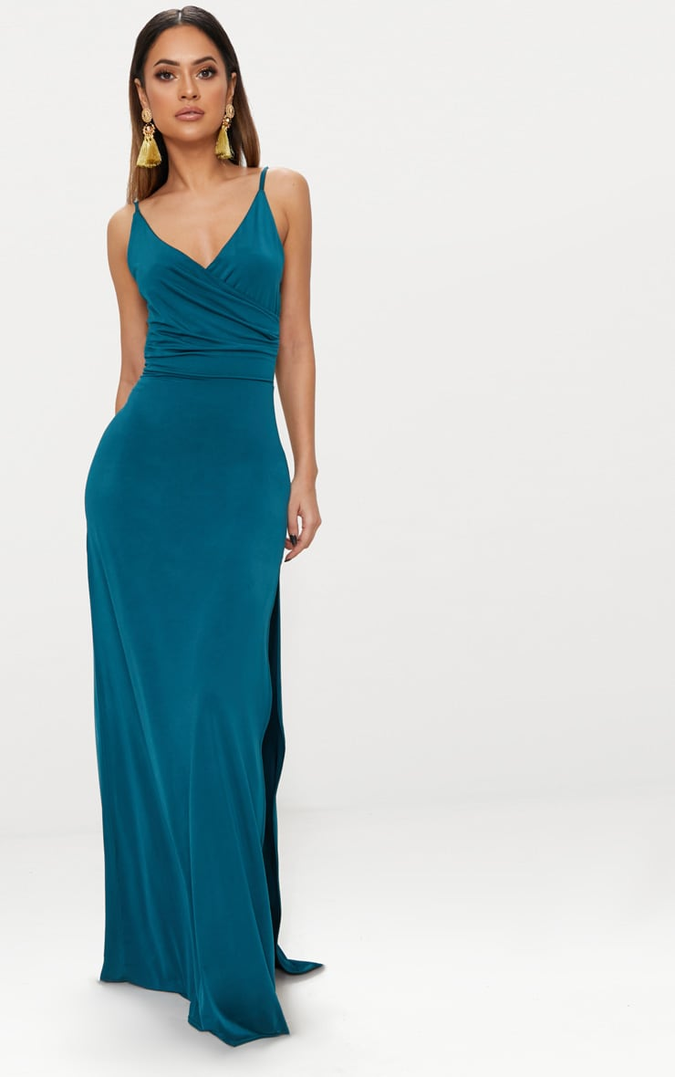 Emerald Green Strappy Plunge Slinky Maxi Dress 1