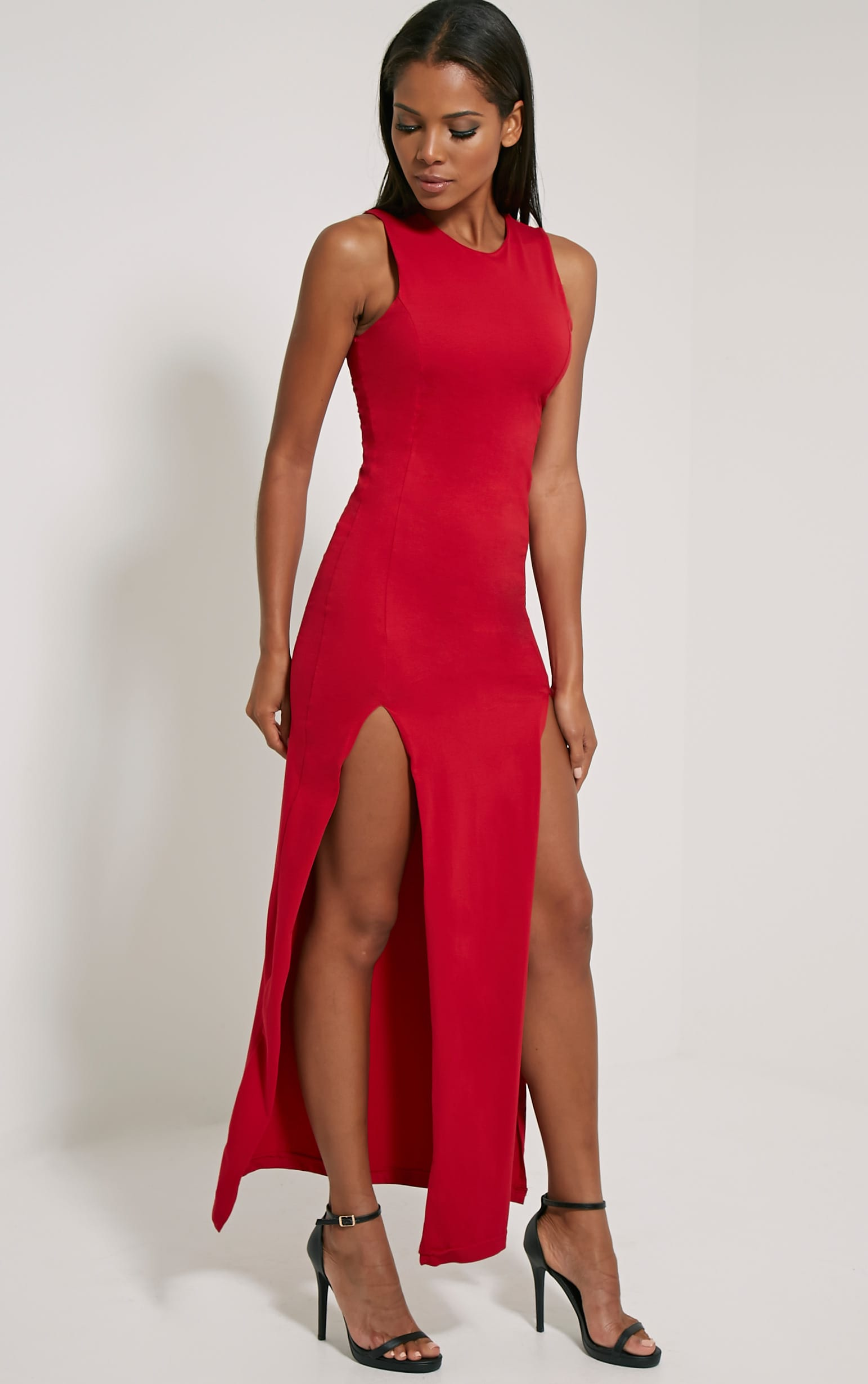 Karina Red Front Split Dress 2