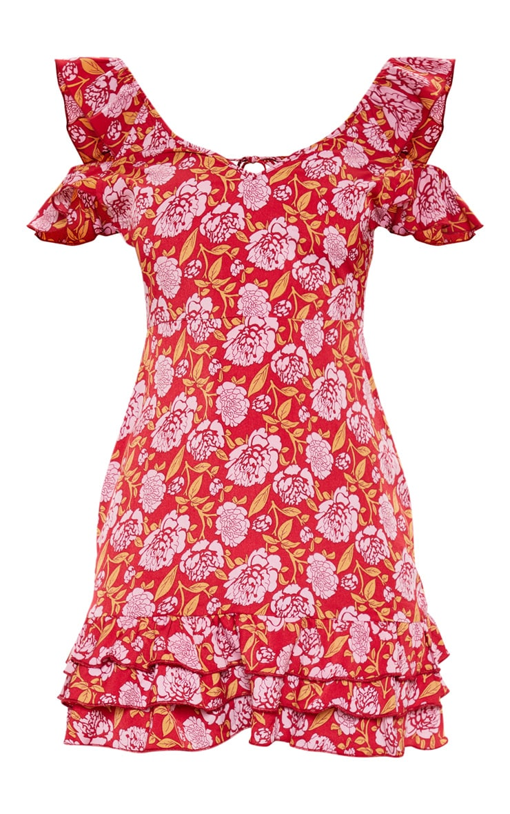 Red Floral Printed Tie Back Shift Dress 3