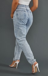 PRETTYLITTLETHING Acid Blue Mom Jeans 1
