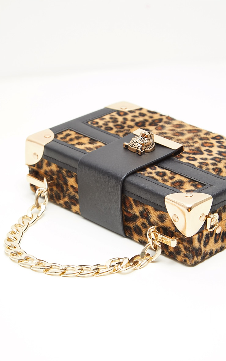 Gold Leopard Hard Satchel  With Panther Studs Cross Body Bag 5
