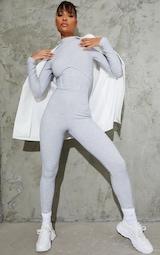 Grey Marl Soft Rib Binding Detail High Neck Jumpsuit 3
