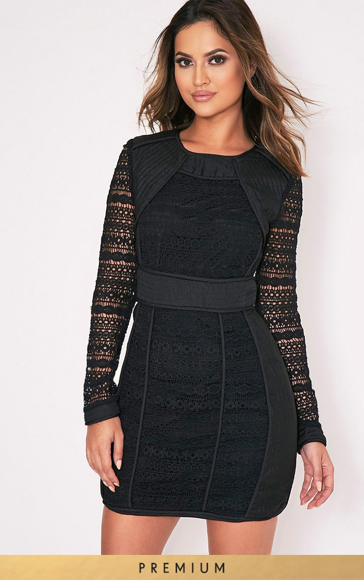Cataleena Black Lace Panel Bodycon Dress 1