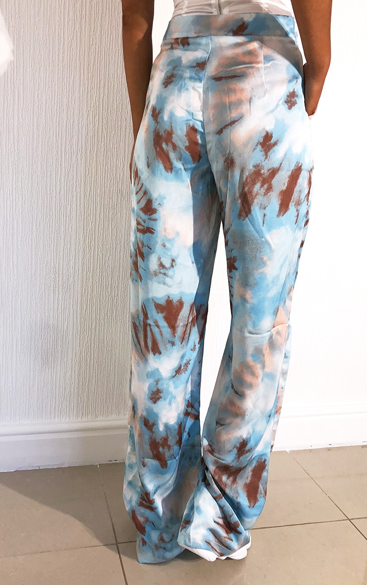 Blue Tie Dye Wide Leg Trousers 3
