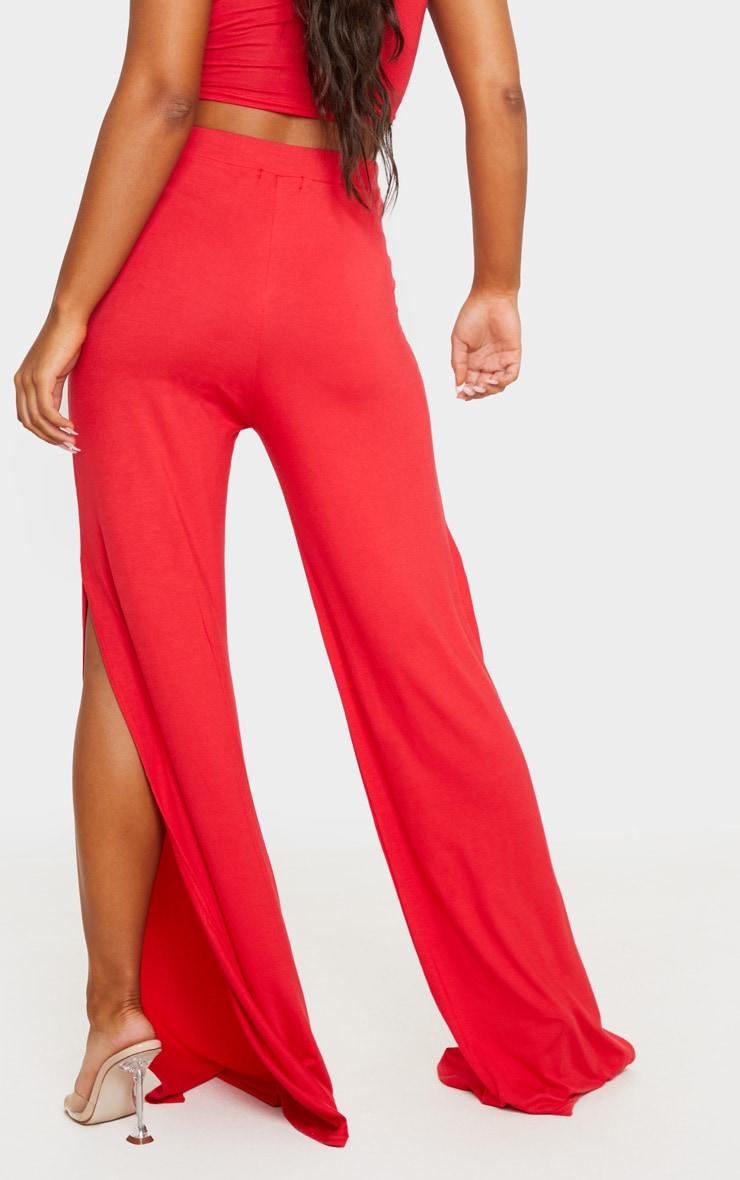 Red Jersey High Waist Split Wide Leg Pants 3