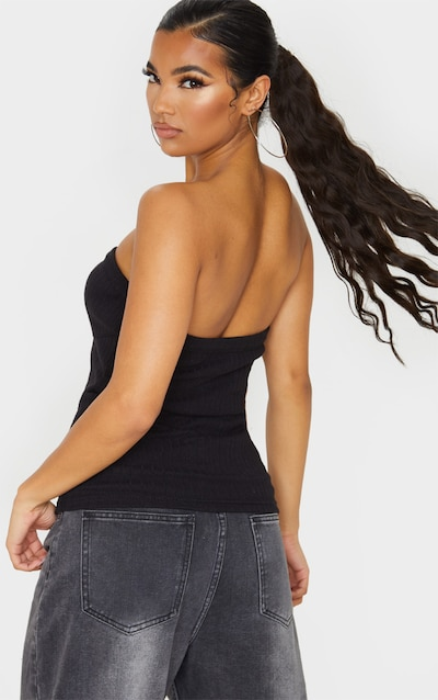 Black Structured Rib Bandeau Top