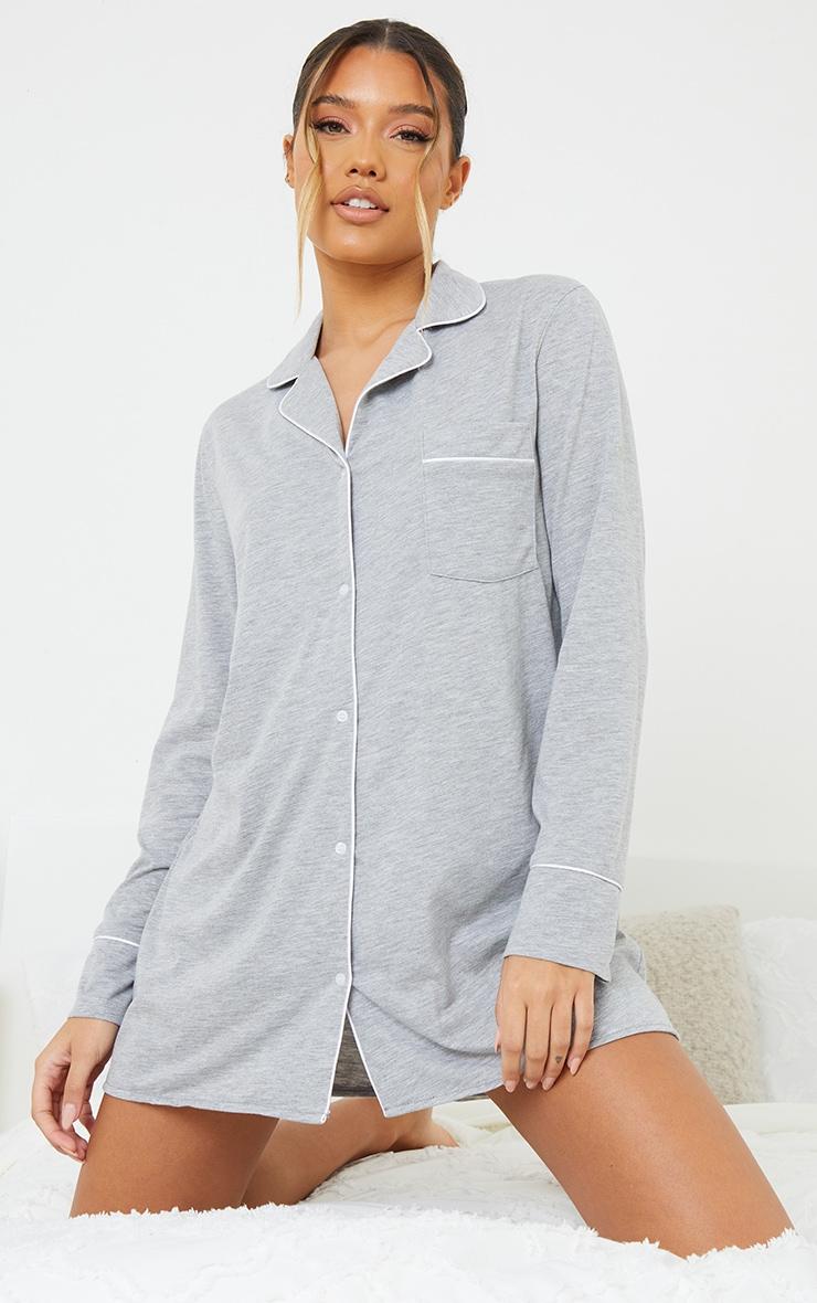 Grey Jersey Button Down Nightshirt 1