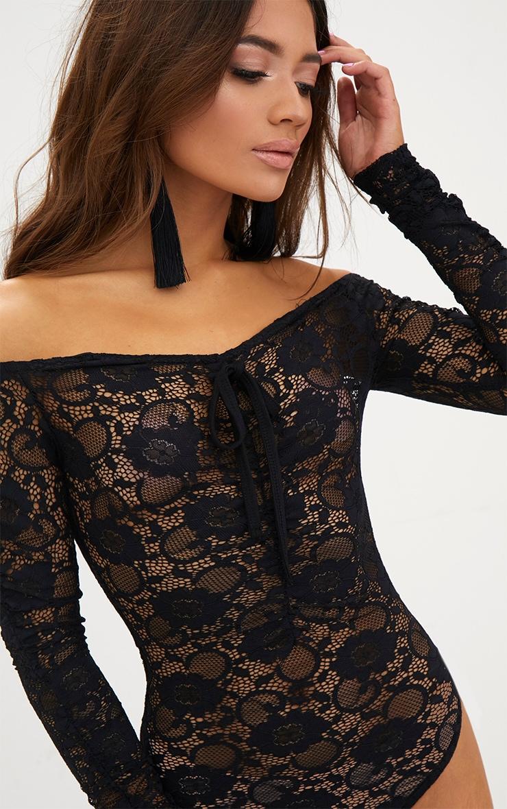 Petite Black Lace Ruched Sleeve Bodysuit 6