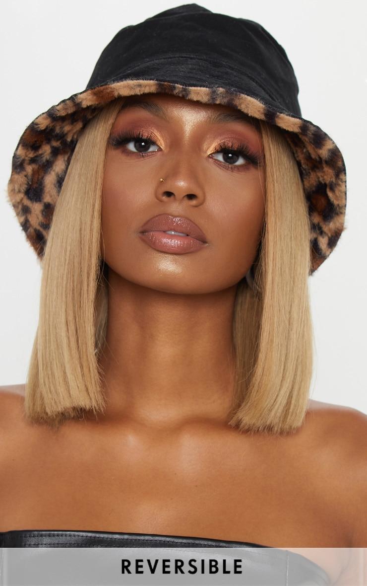 Leopard Faux Fur Reversible Bucket Hat image 1