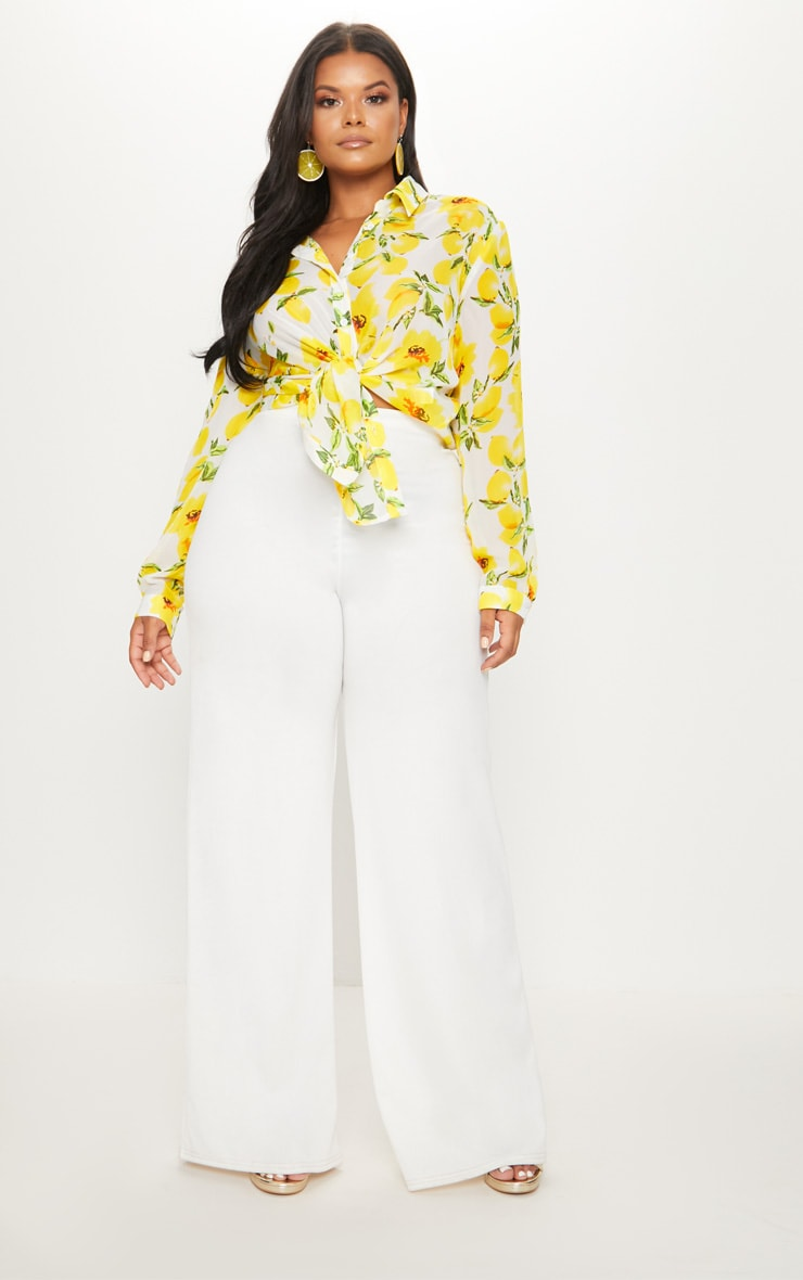 Plus Lemon Print Oversized Shirt  1