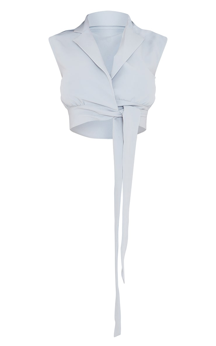 Light Grey Woven Tie Side Sleeveless Top 5