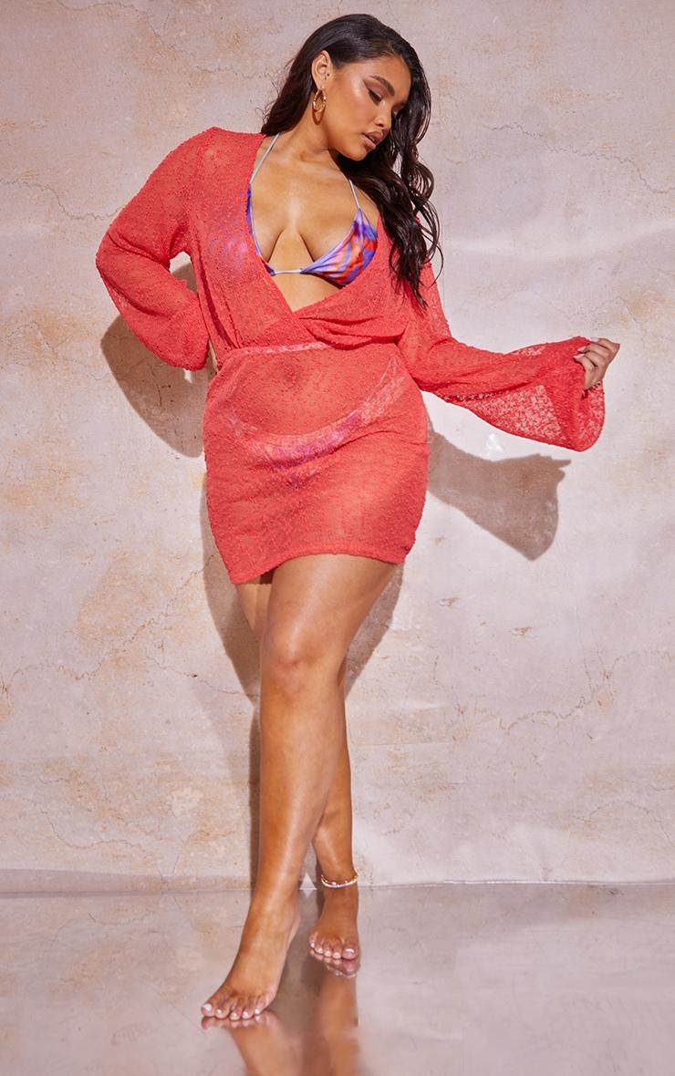 Plus Coral Textured Sheer Beach Dress 1