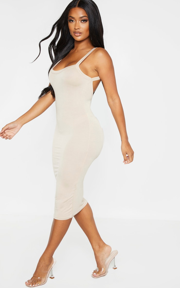 Shape Stone Jersey Scoop Back Midi Dress  1