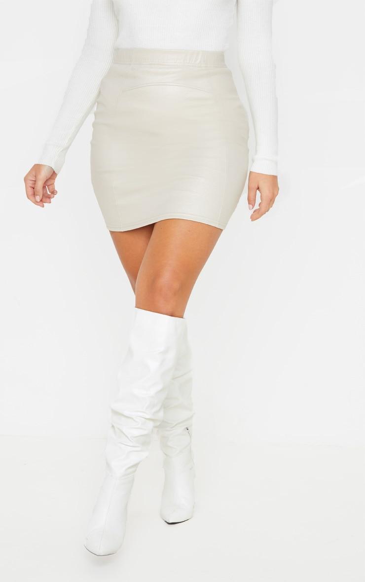 Stone Textured Seam Detail Mini Skirt  2