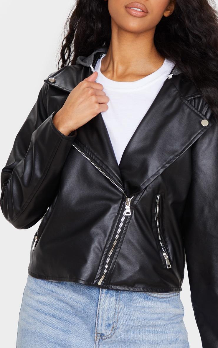 Black Faux Leather Hooded Biker Jacket 3