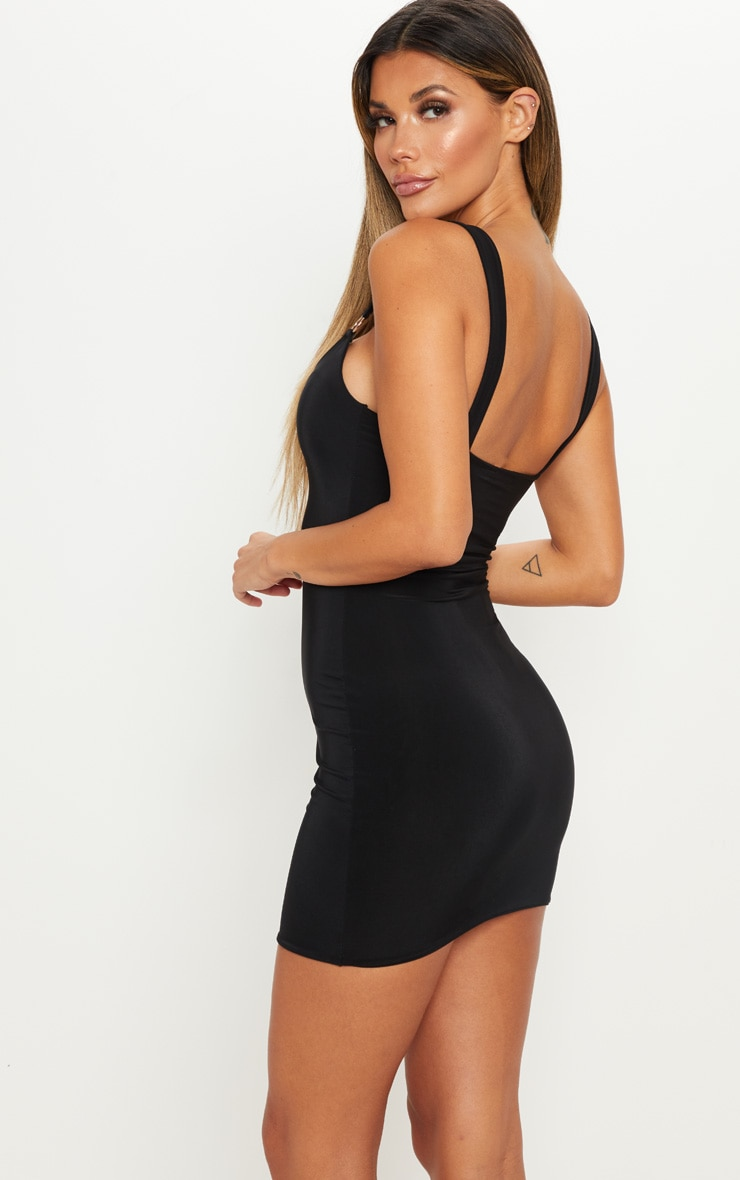 Black Slinky Ring Detail Square Neck Bodycon Dress 2