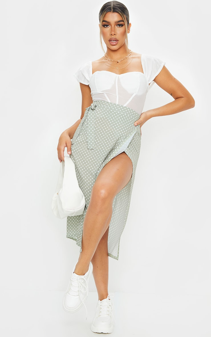 Sage Polka Dot Wrap Around Midi Skirt 1