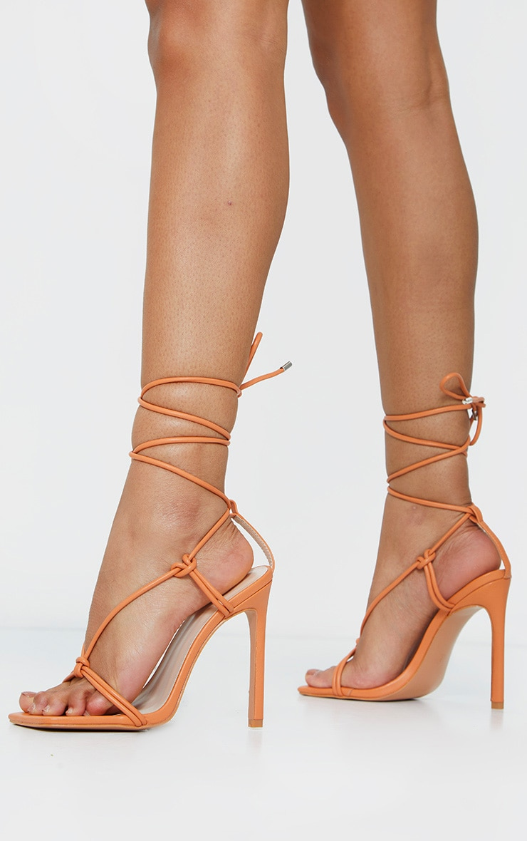 Orange Extreme Square Front Knot Detail High Heel 2