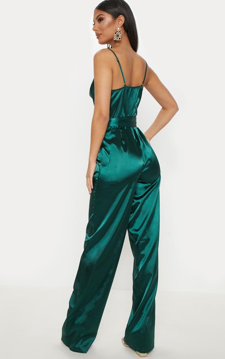 Emerald Green Cowl Neck Satin Tie Waist Jumpsuit 2
