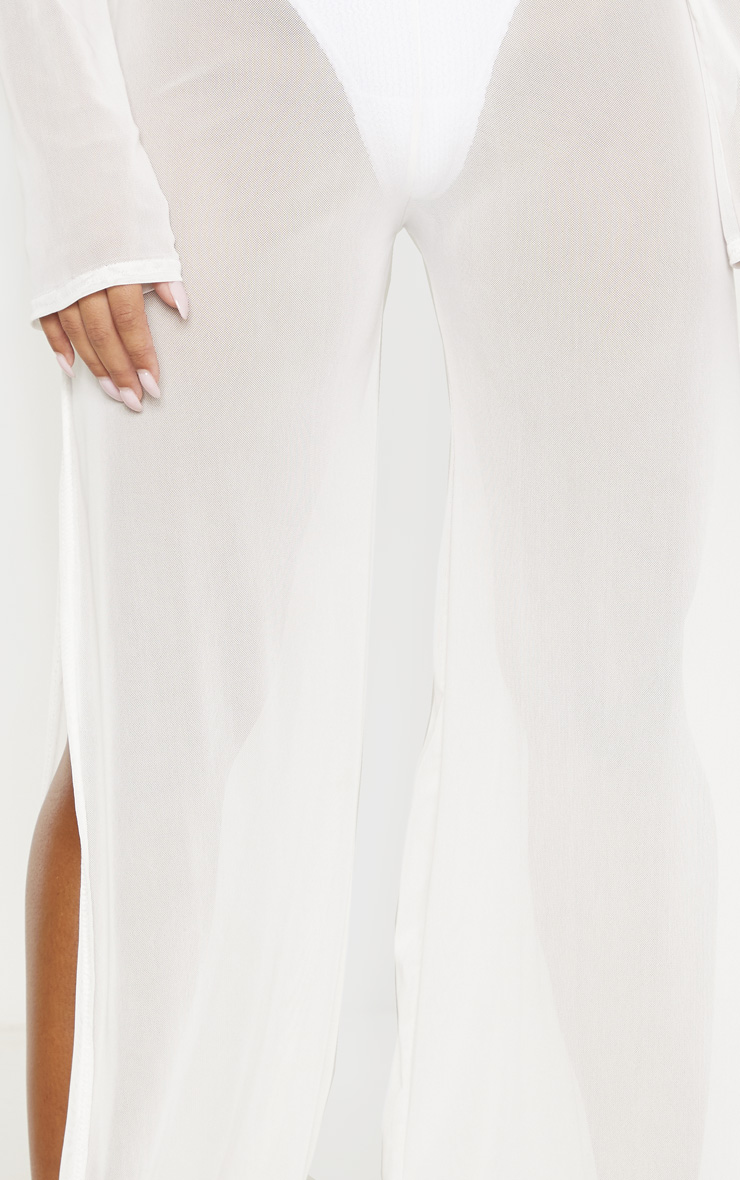 White Split Leg Beach Trouser 4