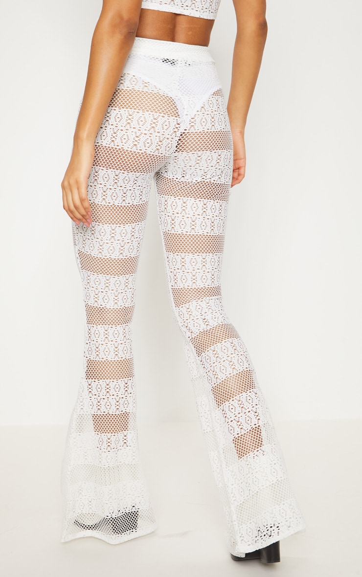 White Crochet Flared Trousers 4