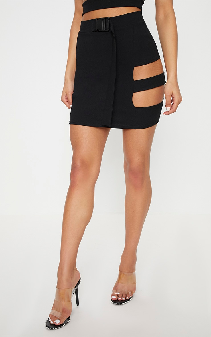Black Crepe Cut Out Buckle Detail Mini Skirt 2