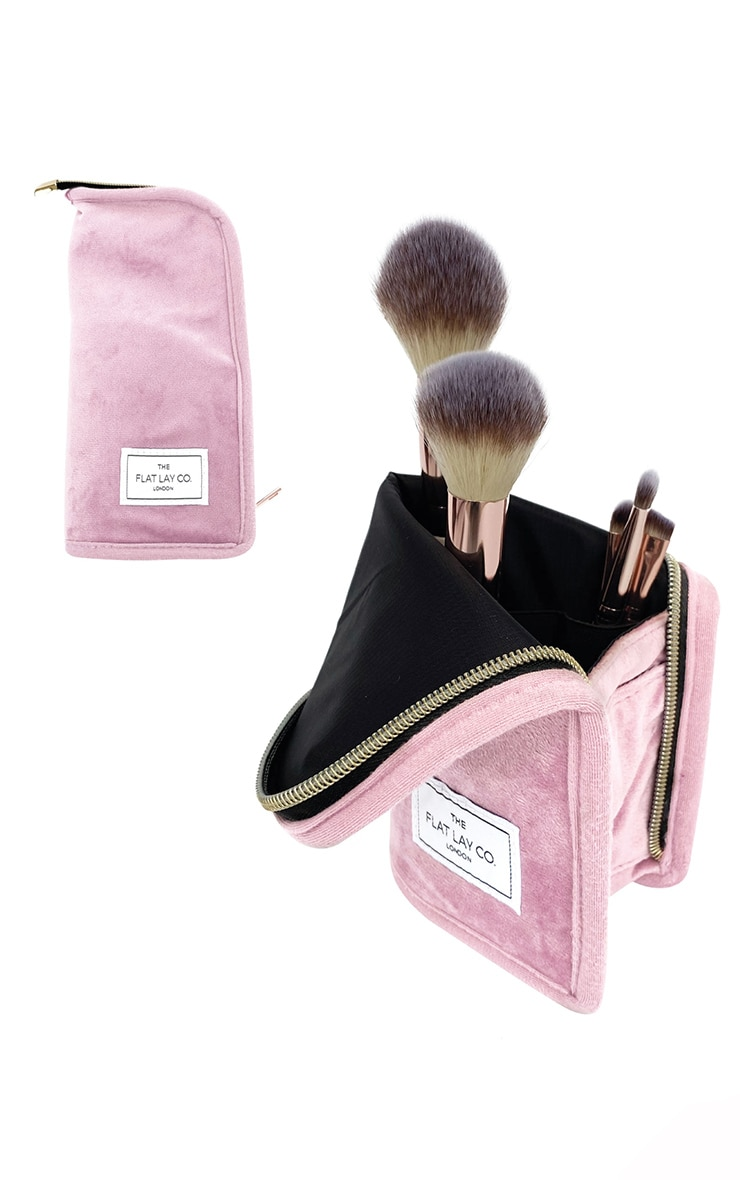 The Flat Lay Co Standing Brush Case Pink Velvet 2