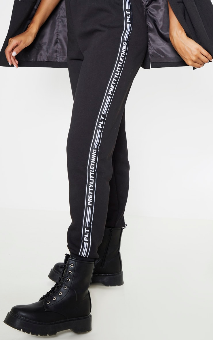 PRETTYLITTLETHING Black Tape Cuff Joggers 5