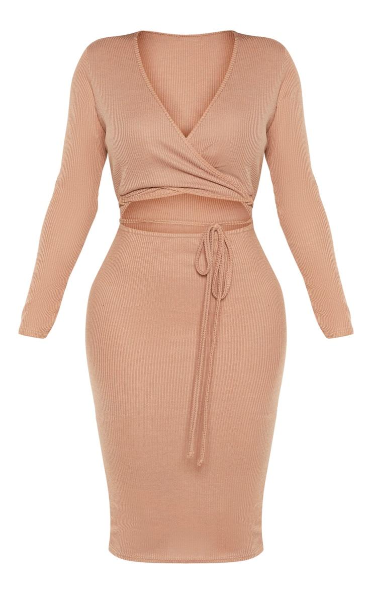 Shape Camel Ribbed Wrap Waist Midi Dress 3