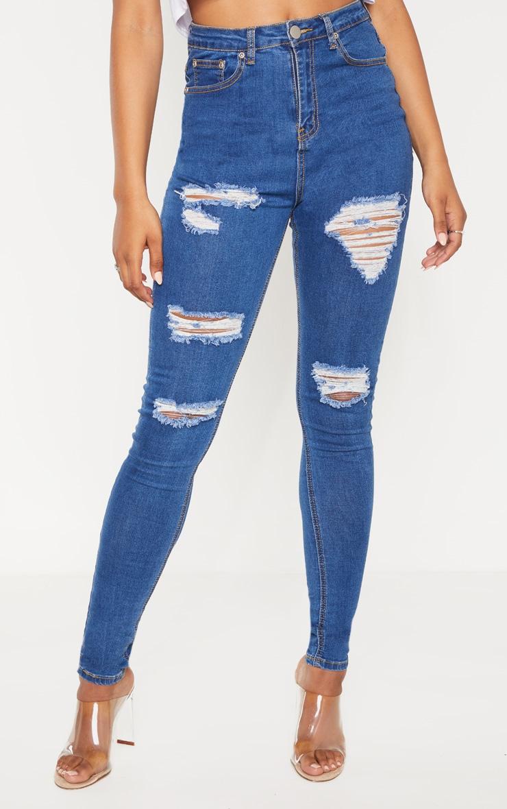 Tall Mid Blue Wash Distressed 5 Pocket Skinny Jean 2
