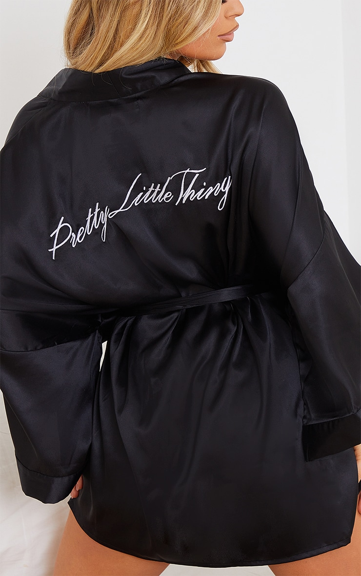 PRETTYLITTLETHING Black Embroidered Satin Robe 4