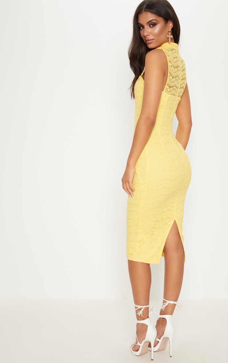 Yellow Lace High Neck Cut Out Detail Midi Dress  2