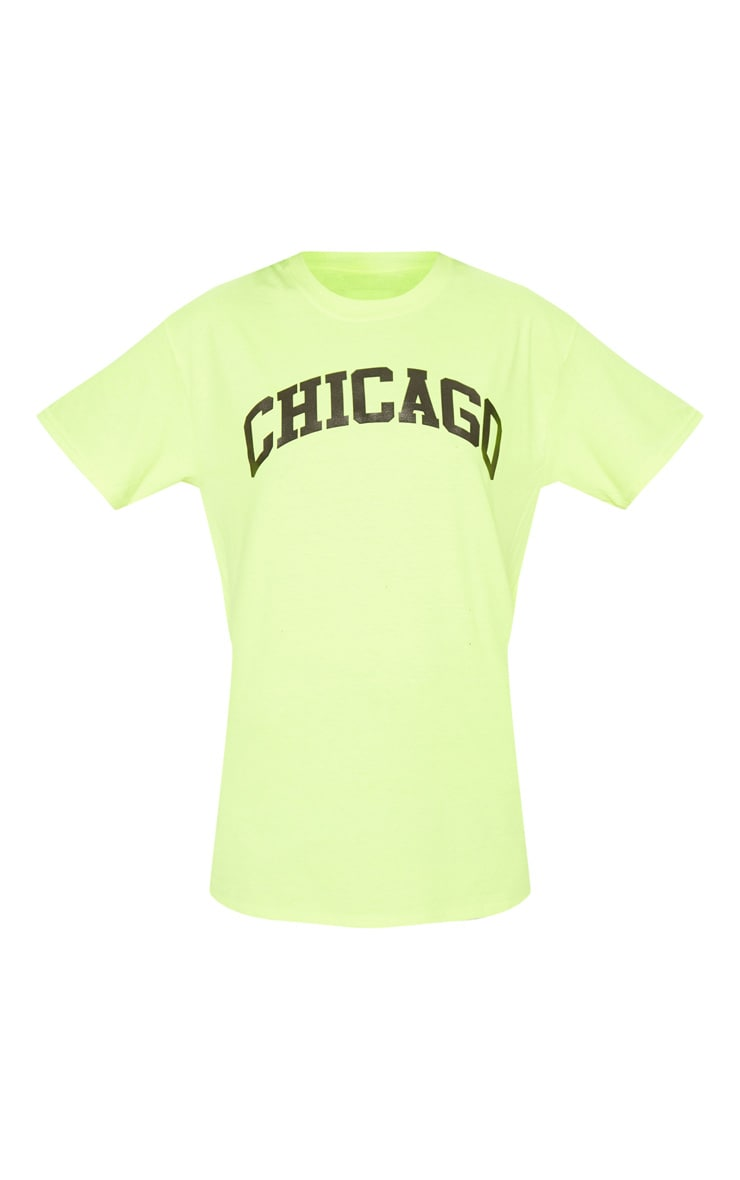Neon Yellow Chicago Slogan T Shirt 3