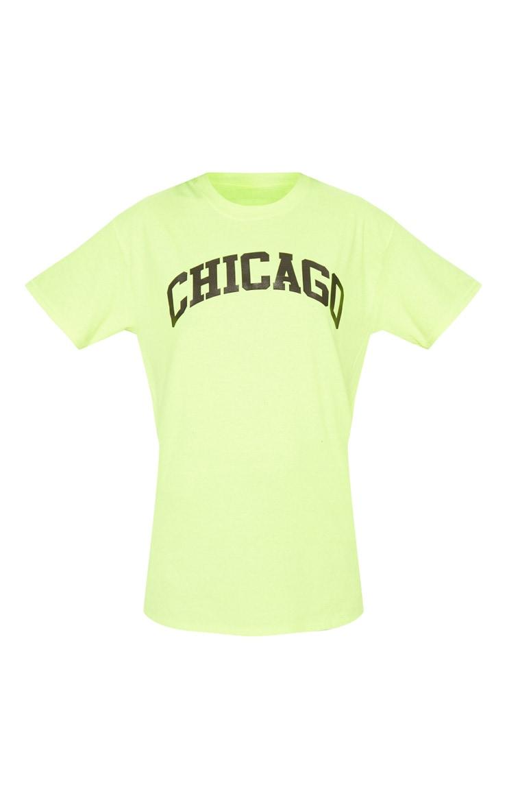 Tee-shirt jaune fluo à slogan Chicago 3
