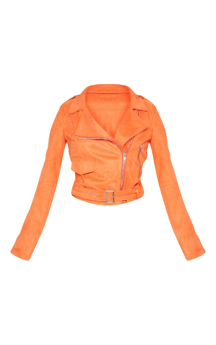 Petite Orange Faux Suede Biker Jacket 3
