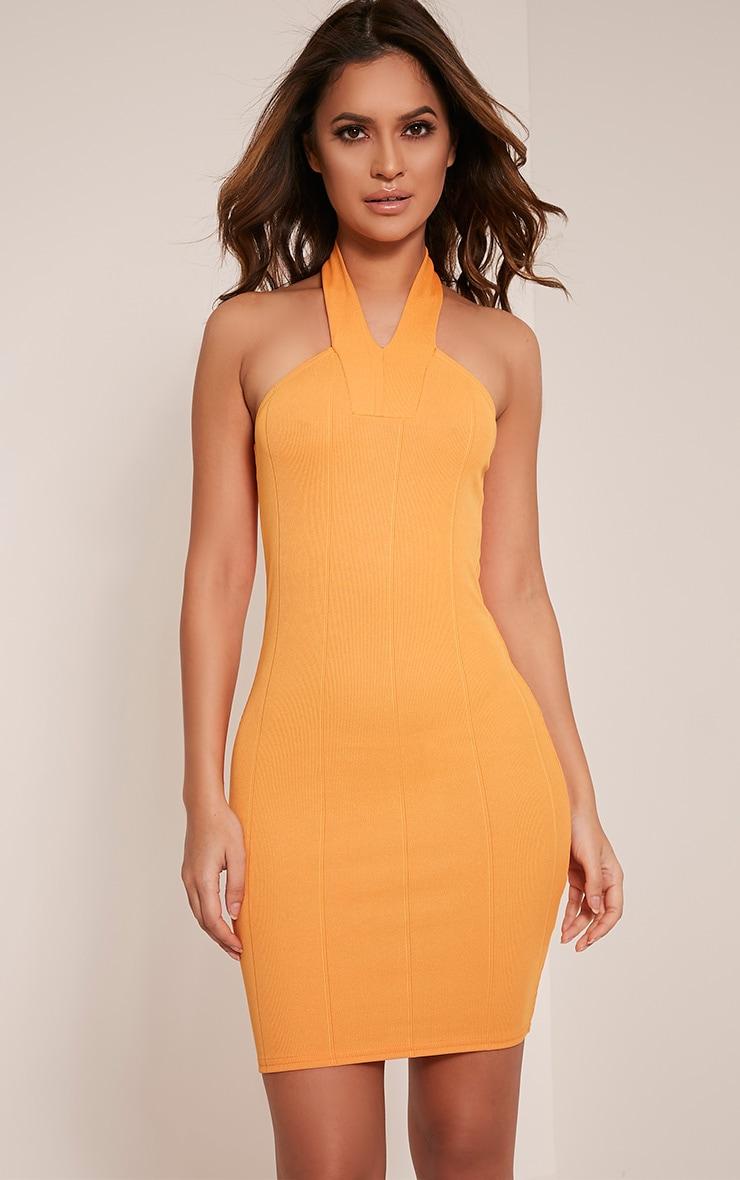 Chessie Bright Orange Halterneck Bandage Bodycon Dress 1