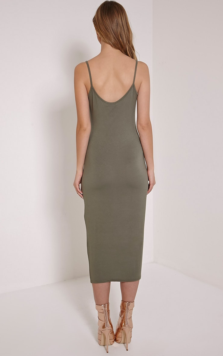 Basic Khaki Midi Vest Dress 2