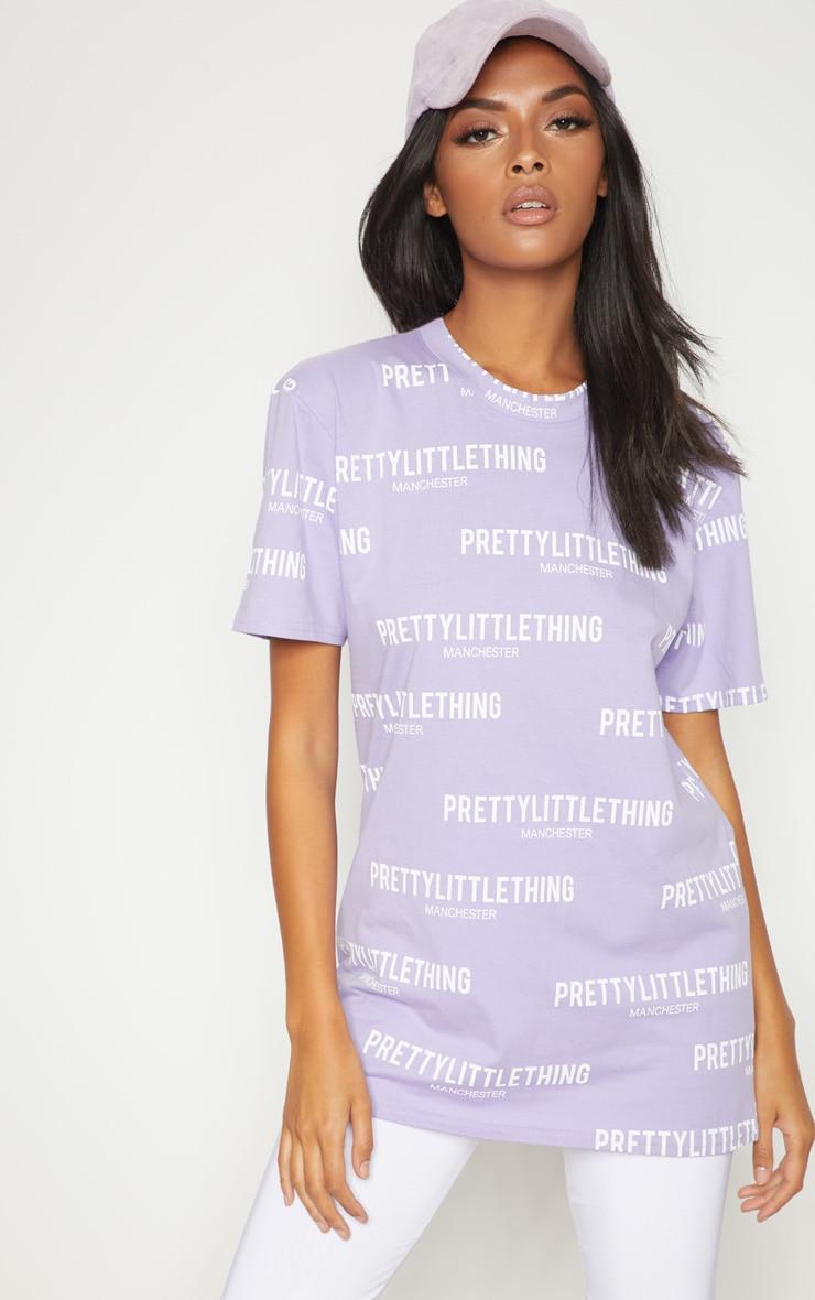 PRETTYLITTLETHING Lilac Manchester Slogan T Shirt  1