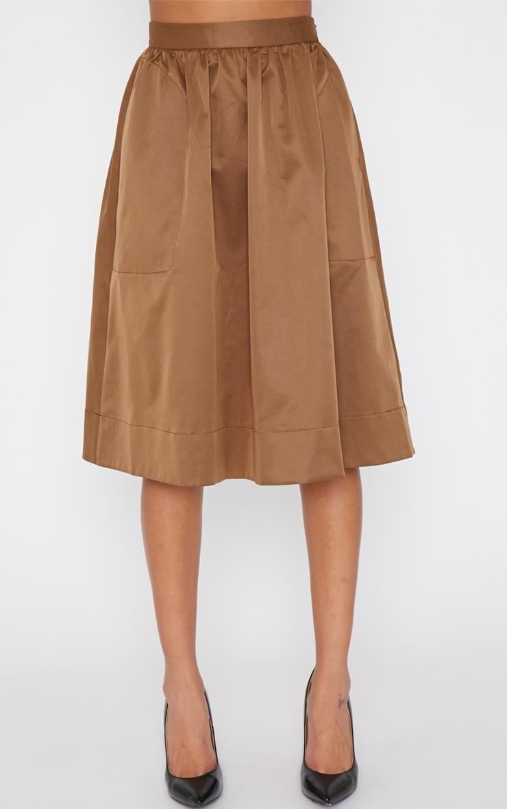 Dede Khaki A Line Midi Skirt  2