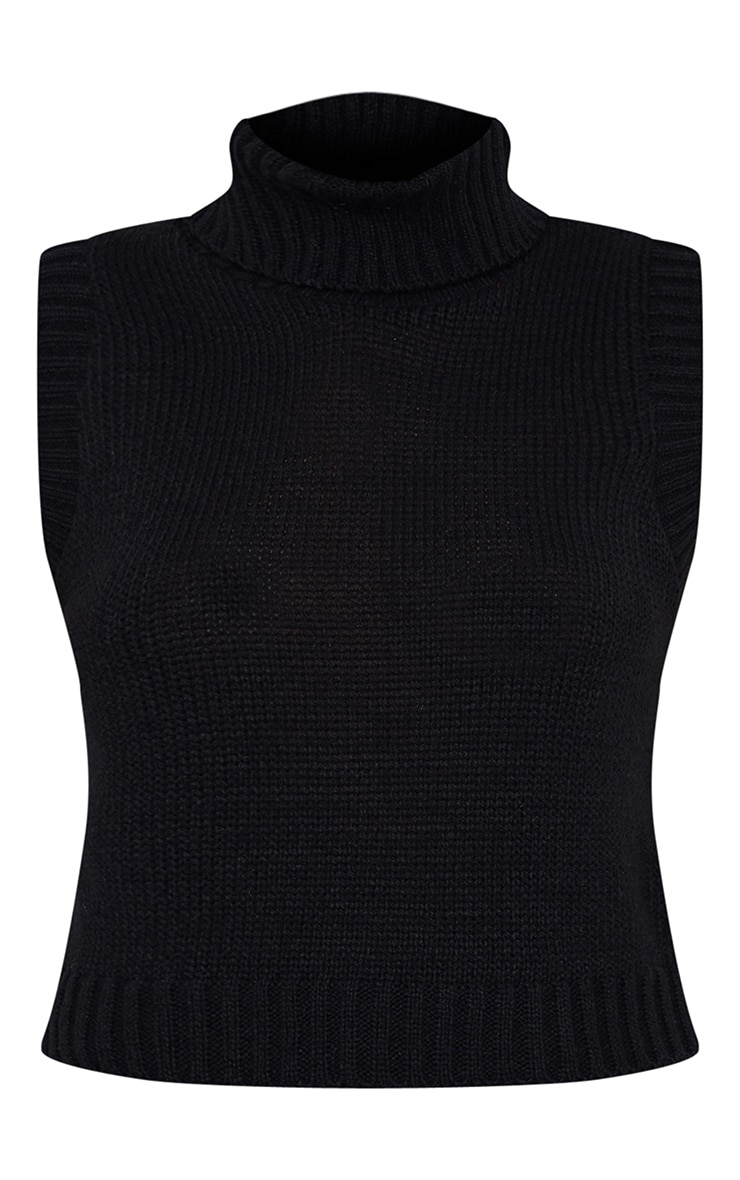 Black Roll Neck Sleeveless Knitted Top 5