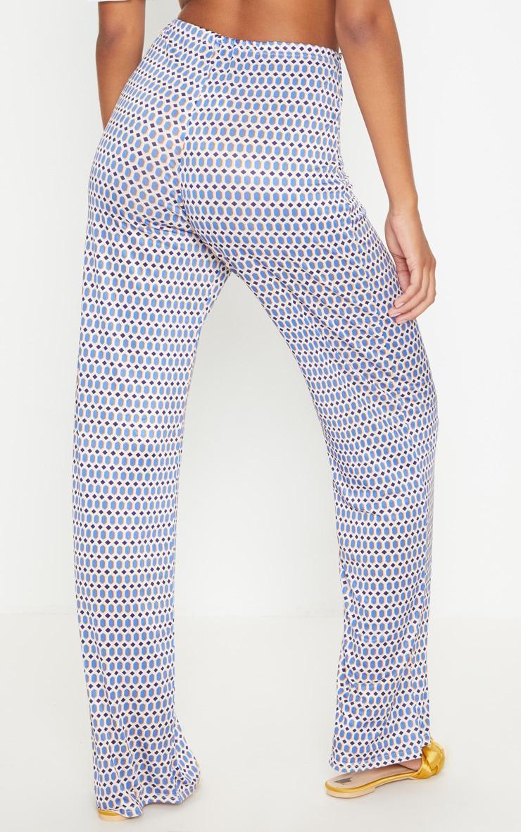 Blue Slinky Geo Print Wide Leg Trouser 3