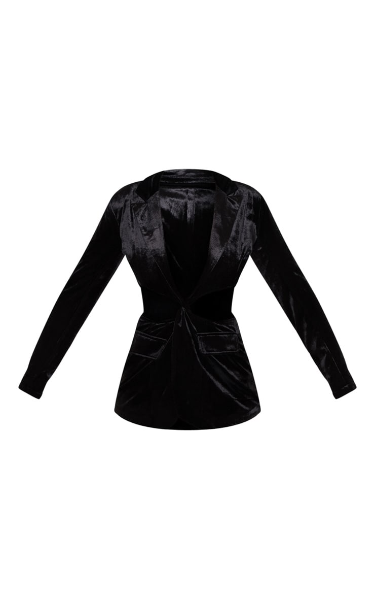 Black Velvet Plunge Cut Out Detail Suit Blazer 4