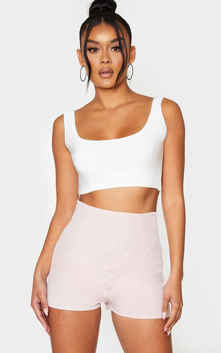 Light Pink Woven High Waist Tailored Short 1