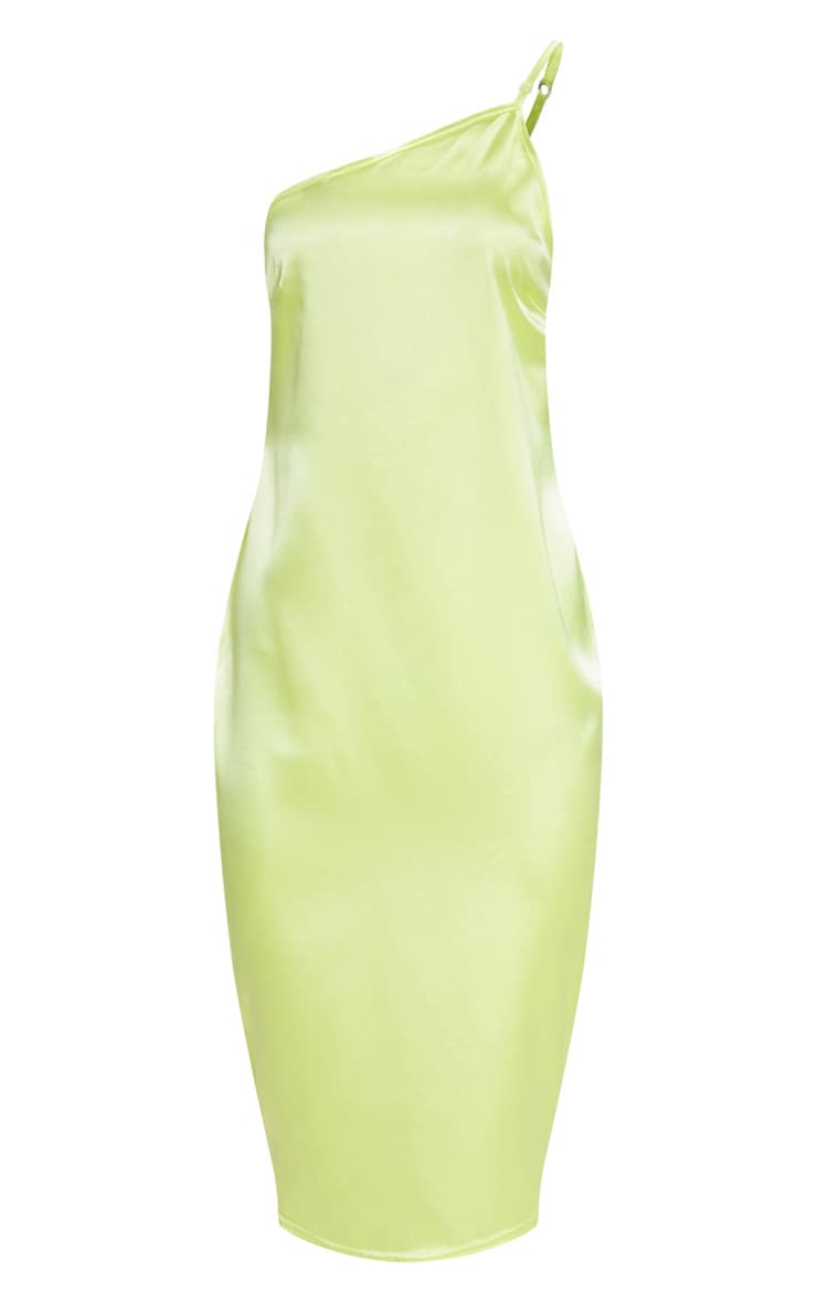Lime Asymmetric Satin Midi Dress 3